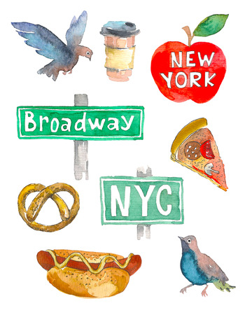 New York Doodle set. American travel symbols in hand drawn sketch. Watercolor.