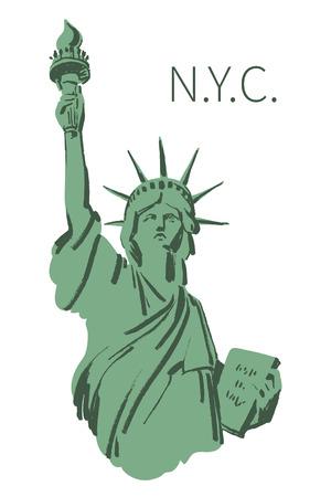 Vectorschets van Vrijheidsbeeld New York van de VS in illustratie