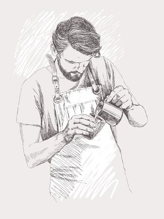 barista joven . ilustración del vector en estilo de dibujo . estilo lineal de un hombre en un café. concepto de café café. concepto de restaurante .