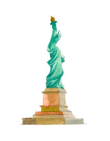 Aquarell Skizze der Freiheitsstatue New York der USA in der Illustration Standard-Bild - 98929752
