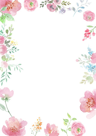 Watercolor flowers. Background with floral ornaments. Wedding background. Handmade. Figure.