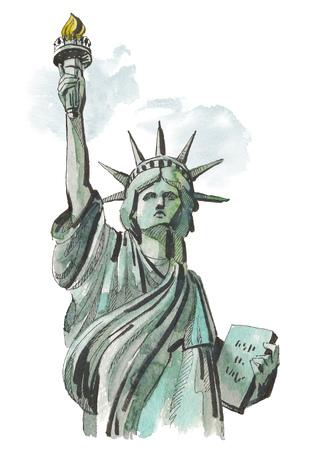イラストのアメリカの自由の女神ニューヨークの水彩画スケッチ