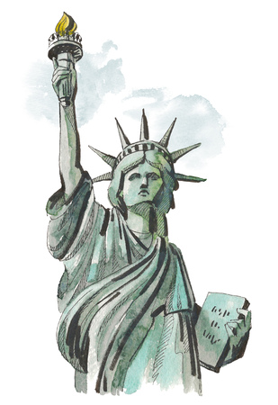Watercolor sketch of Statue of Liberty New York of USA in illustration