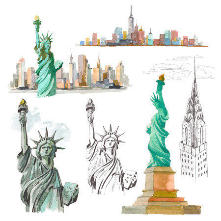 Set Watercolor sketch of Statue of Liberty New York of USA in illustration