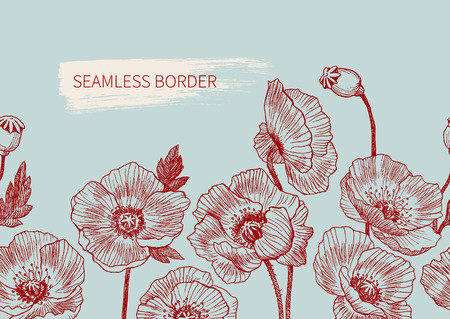 Seamless border poppy flowers drawn and sketch with line-art on mint backgrounds. Vector design