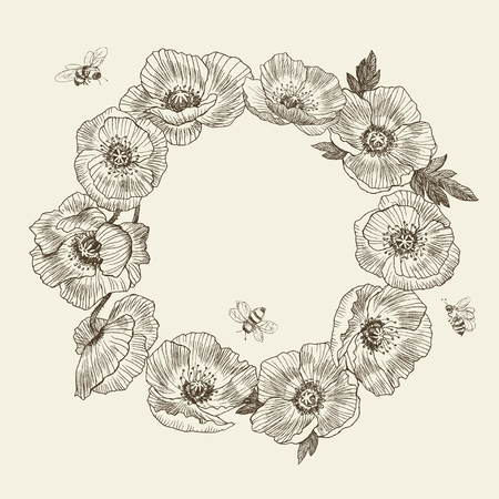 Wreath flower poppy, place for text. Poppy background. Hand drawn nature painting. Freehand sketching illustration