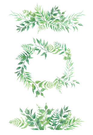 Watercolor flowers frame. Background with floral ornaments. Wedding background. Handmade. Figure. Fern and olives Stock Photo