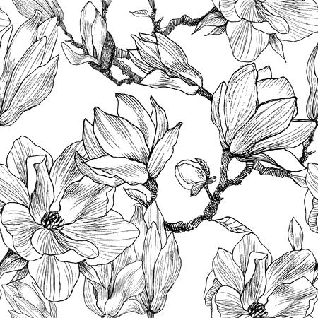 Uno sfondo modello senza soluzione di continuità. Pittura natura disegnata a mano. Illustrazione di schizzo a mano libera Vettoriali