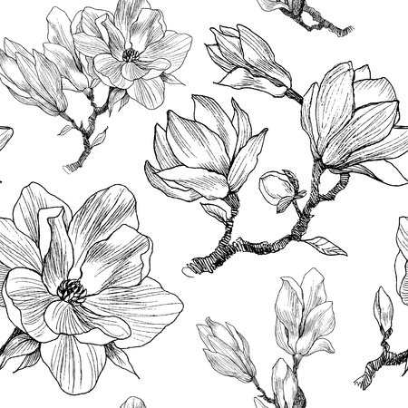 Ink, pencil, the leaves and flowers of Magnolia. Seamless pattern background. Hand drawn nature painting. Freehand sketching illustration