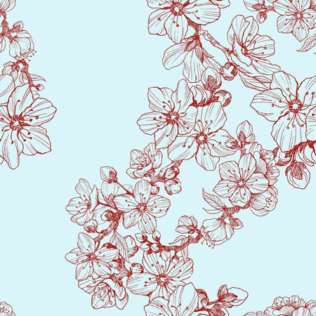 Seamless pattern. Almond blossom branches. Vintage botanical hand drawn illustration. Spring flowers of apple or cherry tree.
