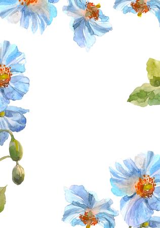 Blue herb flower frame. Watercolor floral illustration. Floral decorative element. Floral background. Stock Photo