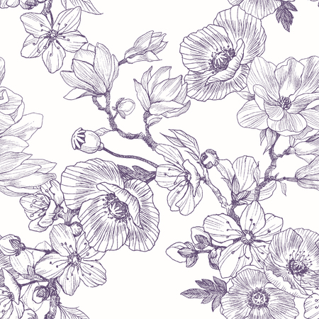 Different beautiful flowers seamless pattern. Vintage botanical hand drawn illustration. Spring flowers of apple or cherry tree, magnolia, poppy. Vettoriali