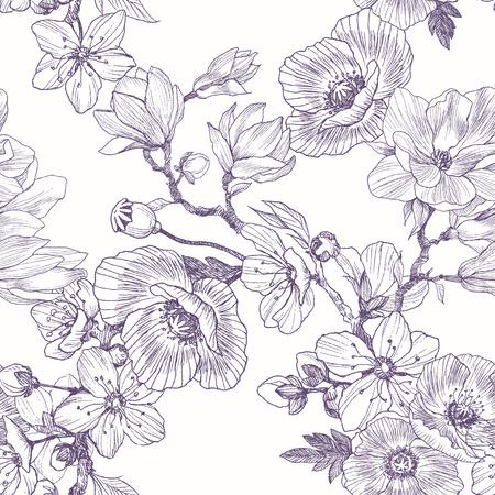 Nahtloses Muster der unterschiedlichen schönen Blumen. Gezeichnete Illustration der Weinlese botanische Hand. Frühlingsblumen von Apfel oder Kirschbaum, Magnolie, Mohn. Vektorgrafik