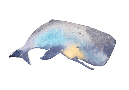 Whale. Sea animal. Watercolor Hand-painted Illustration Isolated on white background Stock Photo
