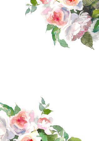 Garden roses flower. Watercolor floral illustration. Floral decorative element. Floral background. Place for text Stok Fotoğraf