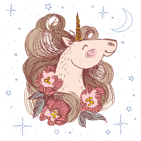 Hand drawn Unicorn with flowers for card design