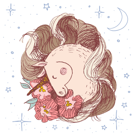 Unicorn flower card. Hand drawn vector illustration. Fairy horse cute head surrounded by peonies and stars, moon, magic. Smile unicorn hand drawn in pen style Illustration