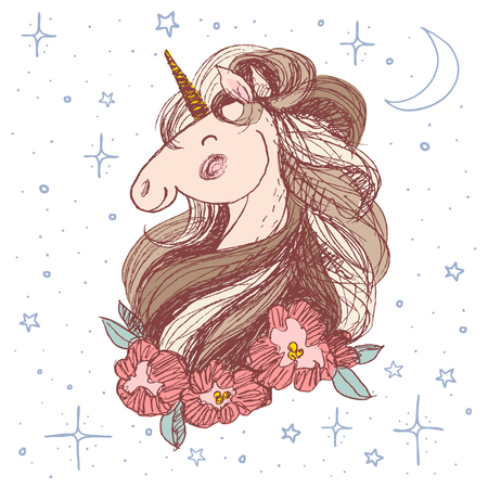 Unicorn flower card. Hand drawn vector illustration. Fairy horse cute head surrounded by peonies and stars, moon, magic. Smile unicorn hand drawn in pen style.