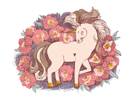 Unicorn flower card. Hand drawn vector illustration. Fairy horse surrounded by pink peonies