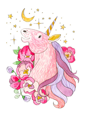 Unicorn looks at the moon and stars. Magical animal. Watercolor artwork. Coloring book page for adult, kid. Fairy tale. Love bohemian concept for greeting, invitation card, branding, print, poster, logo, label Stock Photo