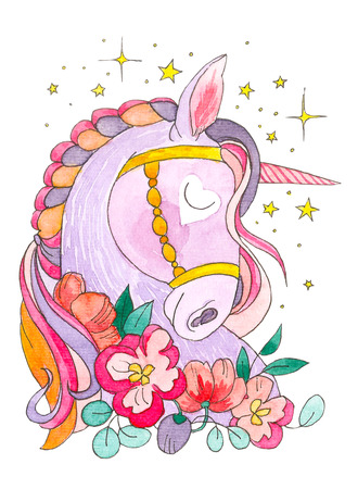 Dream of unicorn. The stars and flowers around. Magical animal. Watercolor artwork. Coloring book page for adult, kid. Fairy tale. Love bohemian concept for greeting, invitation card, branding, print, poster, logo, label