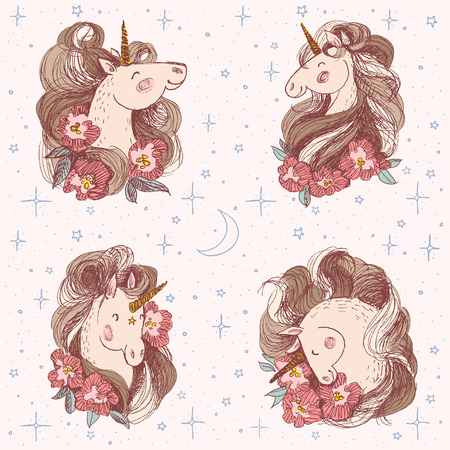 Happy unicorn with flowers in its mane. Isolated over white background. Vector hand drawn illustration. Illustration