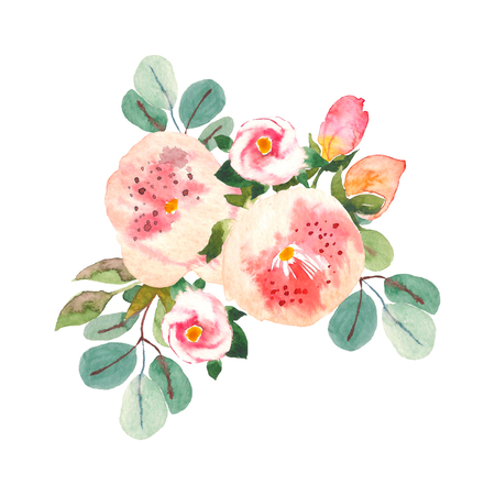 Bouquet with pink roses and peonies with green leaves on the white background. Watercolor romantic garden flowers. Card template with message Summer. Stockfoto