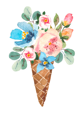 Blue and pink flowers in the waffle cone. Watercolor illustration for your design, logo, invitation, wedding, valentines day. 스톡 콘텐츠