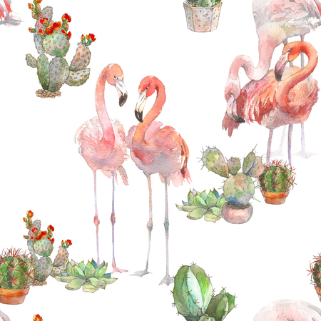 Two flamingos with cactus on white background. Watercolor hand drawn seamless pattern. Rastra. Boho modern style. For invitation, textile, birthday party, kids design