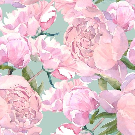 Nahtloses Muster der schäbigen schicken Weinlese Pfingstrose, klassischer Blumenwiederholungshintergrund für Netz und Druck. Aquarell Handzeichnung. Romantisches Design für Naturkosmetik, Parfüm, Damenprodukte. Kann als Grußkarte oder Hochzeitshintergrund verwendet werden