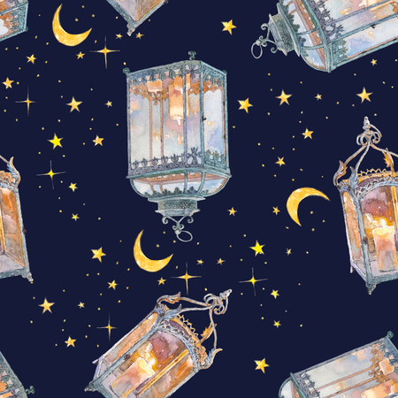 Antique lantern with candle. Watercolor hand drawn painting illustration isolated on white background. Seamless pattern