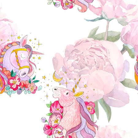 Watercolor peony and unicorn seamless pattern, repeat background for web and print. Watercolor hand drawing. Romantic design for print, textile, kids products and room design