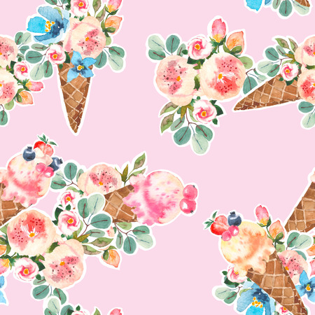 Watercolor icecream cones and blooming roses, eucaliptus, flower bouquet seamless pattern 스톡 콘텐츠 - 101582996