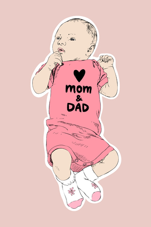 Sketch of happy baby girl. Hand drawn vector line art illustration isolated on pink background. Newborn in a coverall with an inscription Love mom and dad. Family concept. Kids concept
