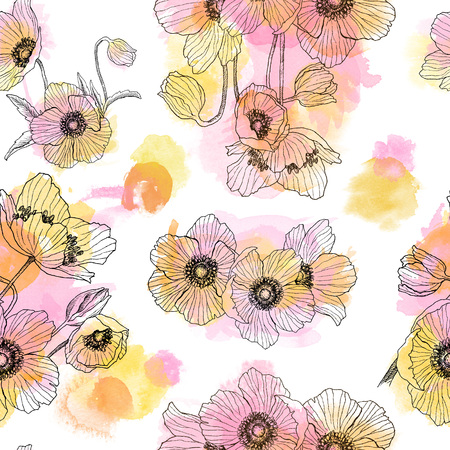 Seamless pattern of Anemone flower linear drawing with watercolor spots. Summer illustration. Herbal engraved style illustration. Detailed botanical sketch. Flower concept. Botanical concept.
