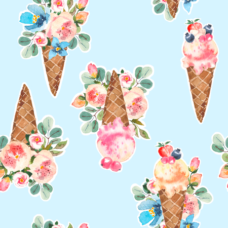 Watercolor icecream cones and blooming roses, eucaliptus, flower bouquet seamless pattern