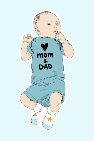 Sketch of happy baby boy. Hand drawn vector line art illustration isolated on blue background. Newborn in a coverall with an inscription Love mom and dad. Family concept. Kids concept Illustration