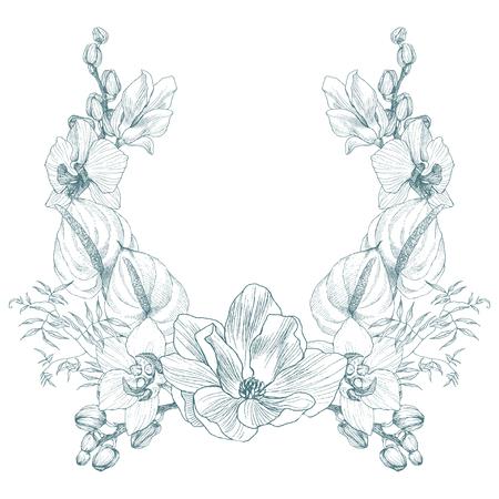 Tropische Blumenverzierung des Weinleserahmenrandmonogramms. Graviertes Retro-Blumendekorationsdesign mit Magnolie, Orchidee und Anthurium. Schönes botanisches dekoratives Element für Hochzeitseinladung, Logo. Vektordesign Logo