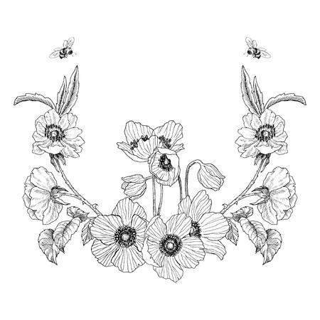 ヴィンテージフレームボーダーモノグラム花飾り。レトロな花の装飾デザインを刻んだ。結婚式の招待状、ロゴのための美しい植物装飾要素。ベクトル設計