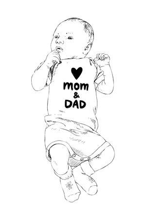 Sketch of happy baby. Hand drawn vector line art illustration isolated on white background. Newborn in a coverall with an inscription Love mom and dad. Family concept. Kids concept