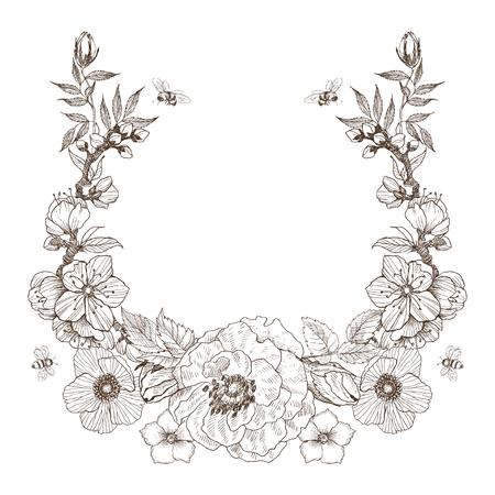 Vintage Victorian frame border monogram floral ornament. Engraved retro flower decorative design. Beautiful botanical decorative element for wedding invitation, logo. Vector design