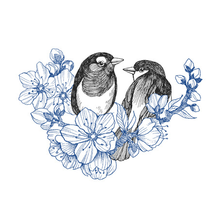 Two birds hand drawn in vintage style with flowers. Spring birds sitting on blossom branches. Linear engraved art. Bird concept. Romantic concept. Vector design