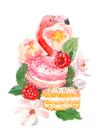 Pink flamingo and macaron trendy watercolor illustration on white background. Exotic art background. Sweet desert with raspberries and flowers, tropical bird. Design for fabric, wallpaper, textile and decor. Фото со стока