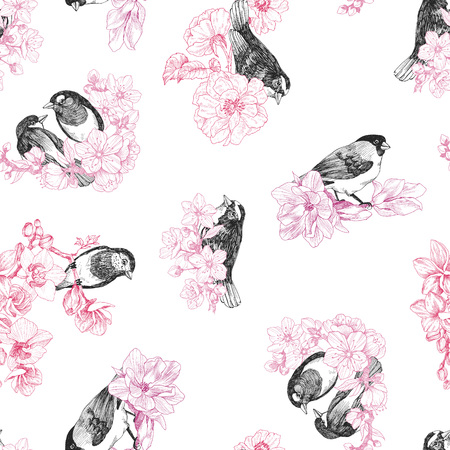 Seamless pattern of birds hand drawn in vintage style with flowers. Spring bird sitting on blossom branches. Linear engraved art. Bird concept. Romantic concept. Vector design