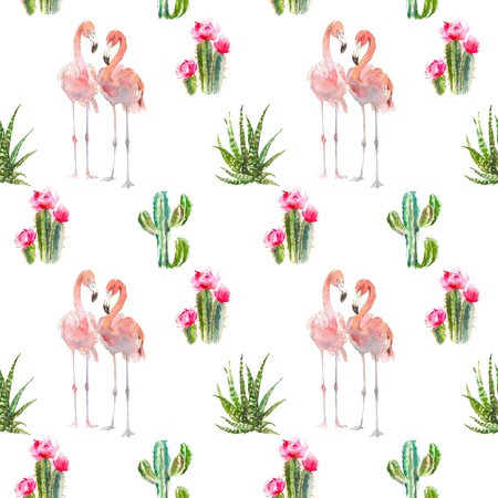 Seamless pattern with tropical bird flamingo, cactus, succulents and floral elements on white background. Vintage watercolor botanical illustration for textile, print, invitation, party. Tropical conc 스톡 콘텐츠