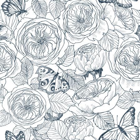 Nahtloses Muster des wilden Rosenblütenzweigs und des Schmetterlings. Weinlese botanische Hand gezeichnete Illustration. Frühlingsblumen der Gartenrose, der Hundrose. Vektordesign