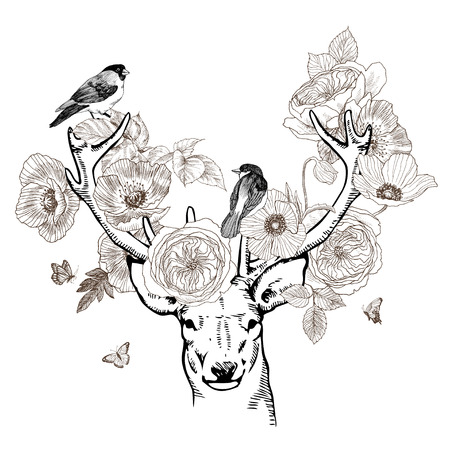 Hand drawn realistic deer surrounded by flowers. Beautiful highly detailed vector artwork isolated. Medieval atmosphere. Elegant tattoo design, Love and freedom symbol. Print, posters, t-shirts. Deer with birds 写真素材 - 104026481