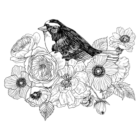 Bird hand drawn in vintage style with flowers. Spring bird sitting on blossom branches. Linear engraved art. Bird concept. Romantic concept. Vector design