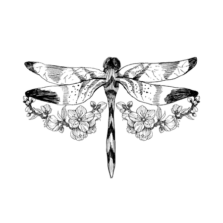 Flowers and dragonfly. Vector tattoo in vintage style. Isolated vector illustration.Tattoo salon logos and tattoo machine isolated on white background. Design elements, icons, badges and stamps. Stok Fotoğraf - 104038806