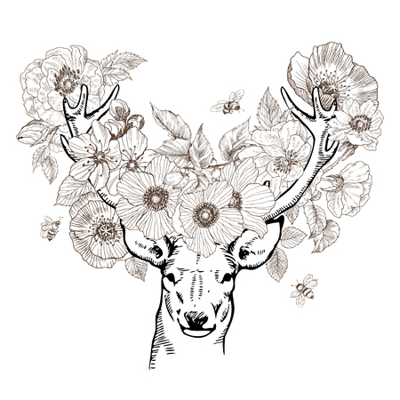 Hand drawn realistic deer surrounded by flowers. Beautiful highly detailed vector artwork isolated. Medieval atmosphere. Elegant tattoo design, Love and freedom symbol. Print, posters, t-shirts. Deer with birds